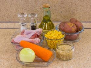 Суп с кукурузой, рисом и курицей. Ингредиенты
